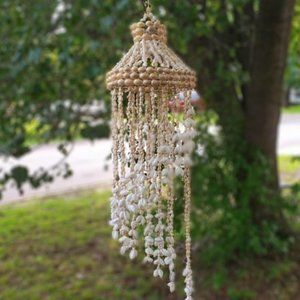 "Vintage Decorative Seashell Hanging 33"" Chandelier"